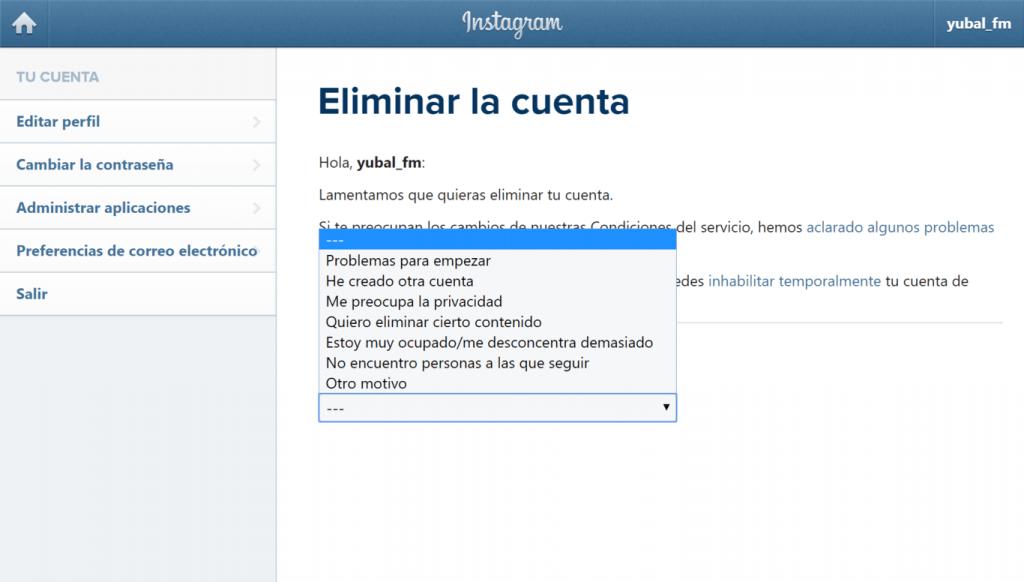 Cómo Eliminar Tu Cuenta de Instagram 3