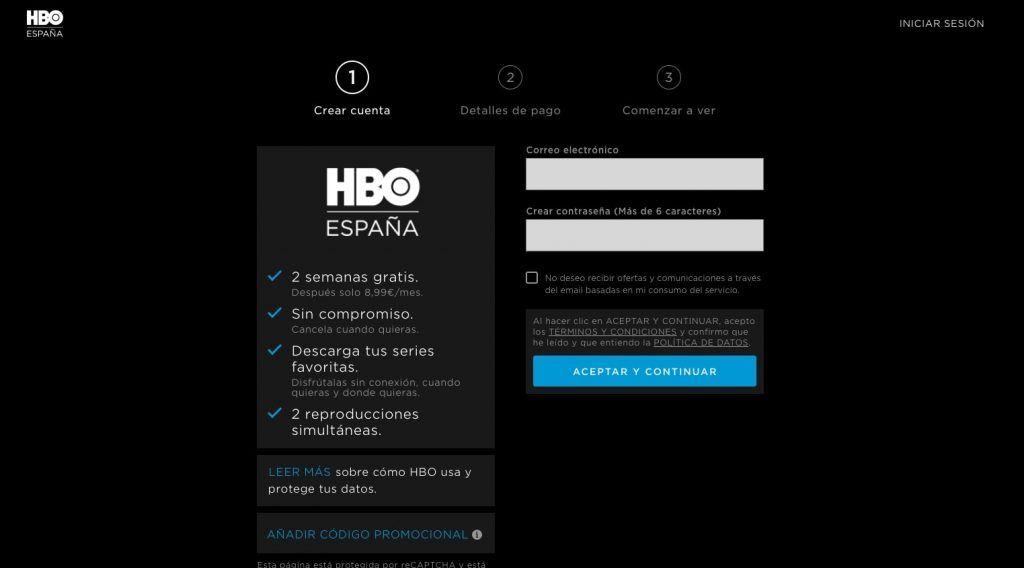 Creación de una cuenta de HBO