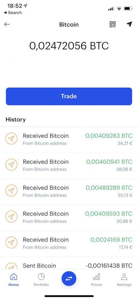 Recibo de pago en Coinbase