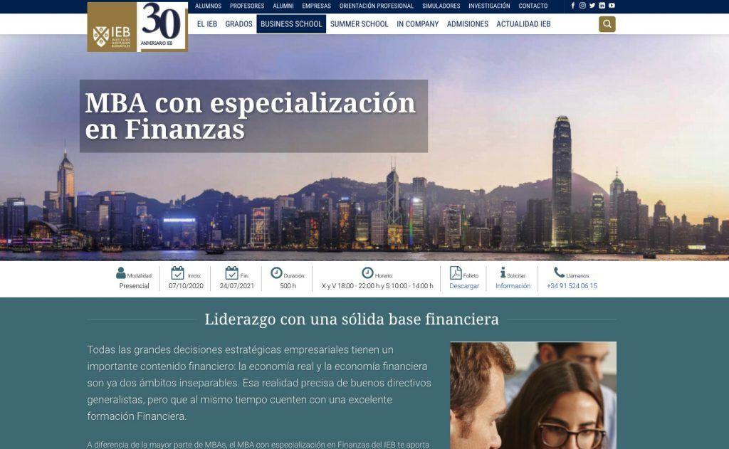 MBA con Especialización en Finanzas del IEB