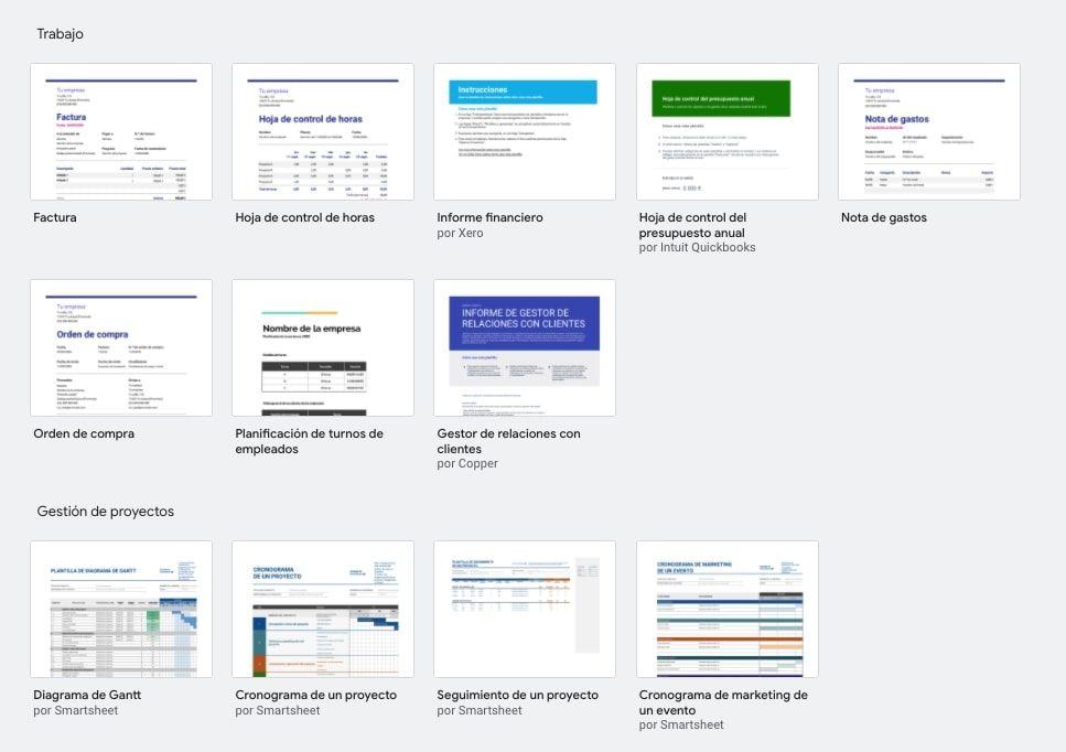 Plantillas de facturacion en Google Sheets