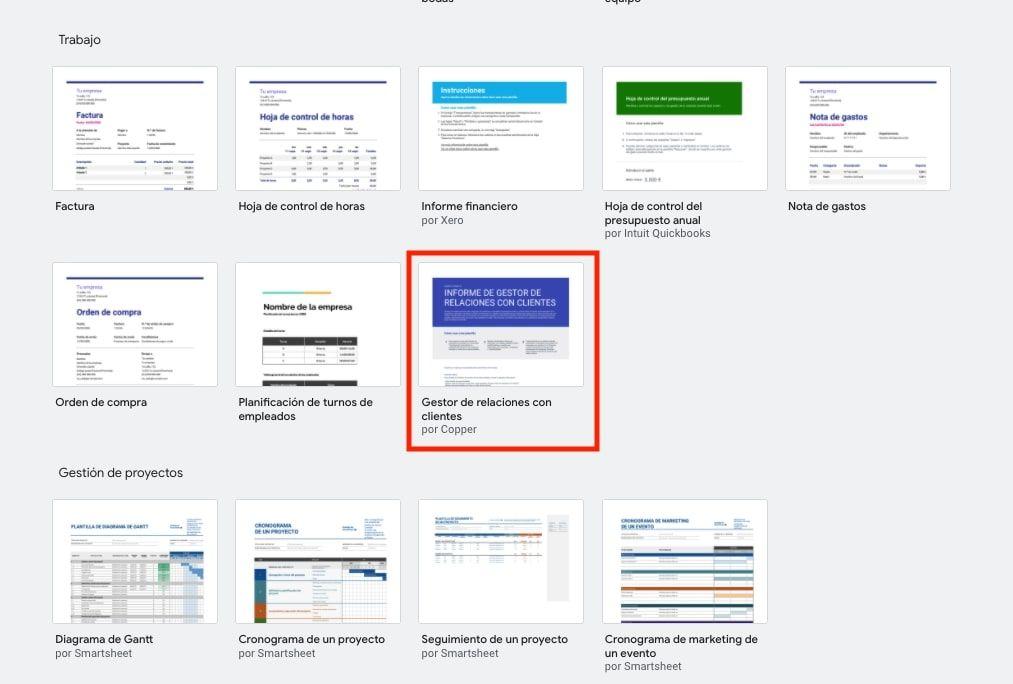 Plantilla de CRM en Google Sheets